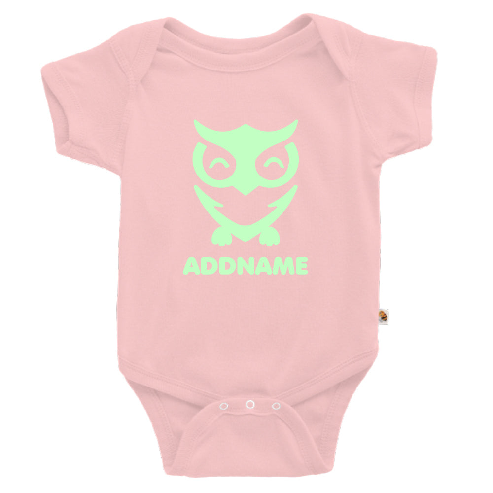 Teezbee.com - Cute Owl Bird Glow in the Dark - Romper (Pink)