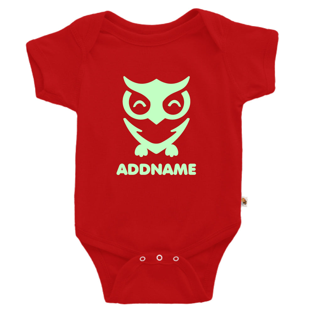 Teezbee.com - Cute Owl Bird Glow in the Dark - Romper (Red)