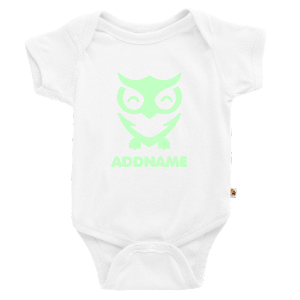 Teezbee.com - Cute Owl Bird Glow in the Dark - Romper (White)
