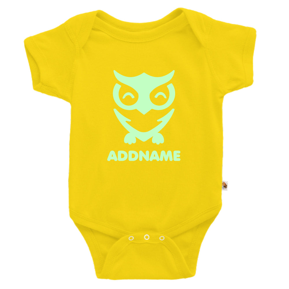 Teezbee.com - Cute Owl Bird Glow in the Dark - Romper (Yellow)