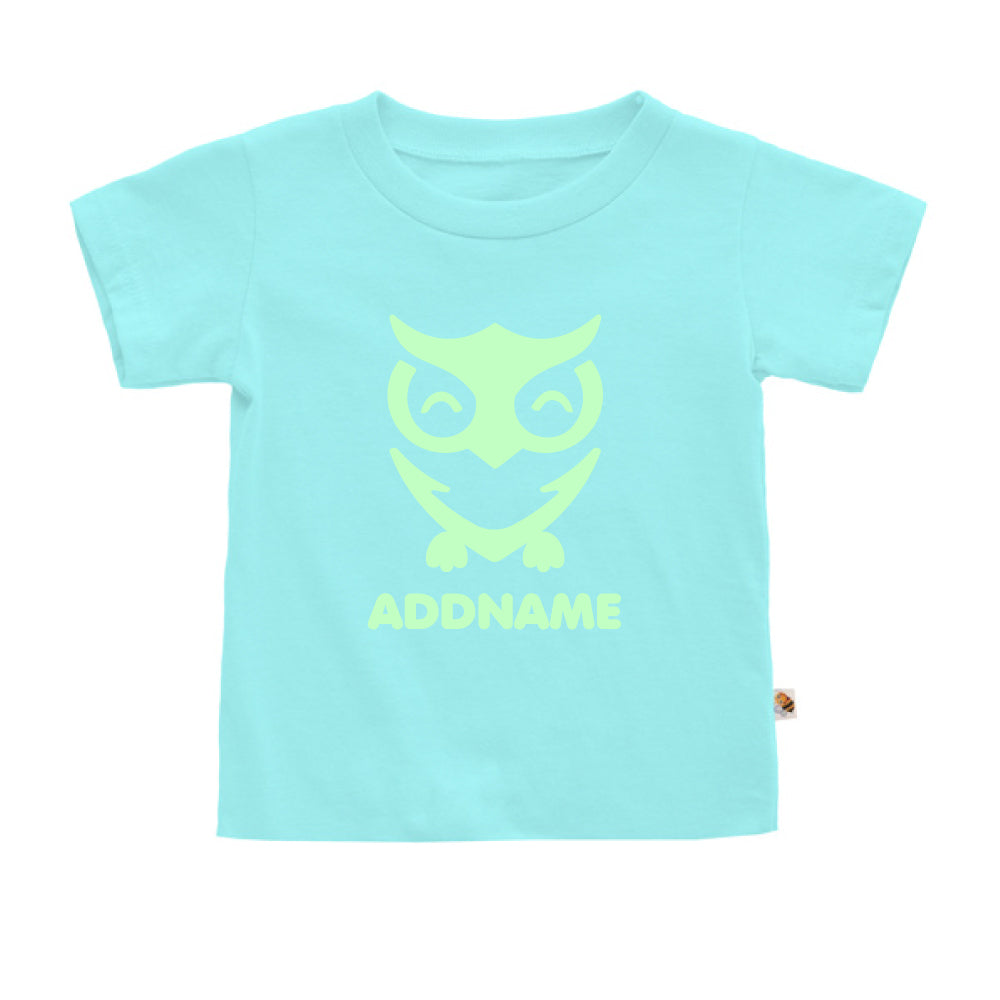 Teezbee.com - Cute Owl Bird Glow in the Dark - Kids-T (Light Blue)