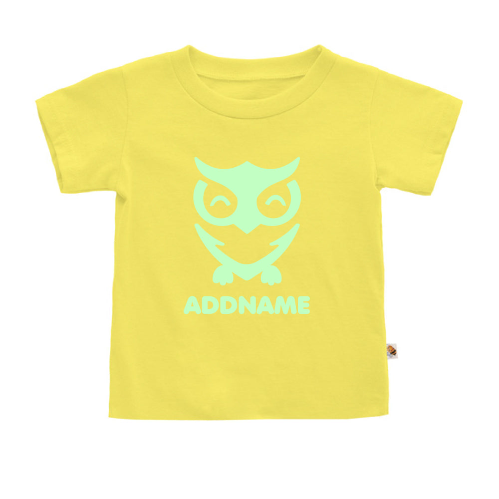 Teezbee.com - Cute Owl Bird Glow in the Dark - Kids-T (Light Yellow)