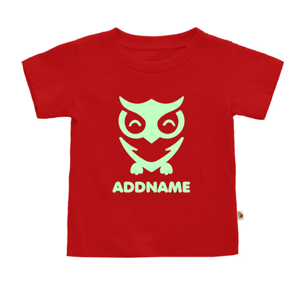 Teezbee.com - Cute Owl Bird Glow in the Dark - Kids-T (Red)