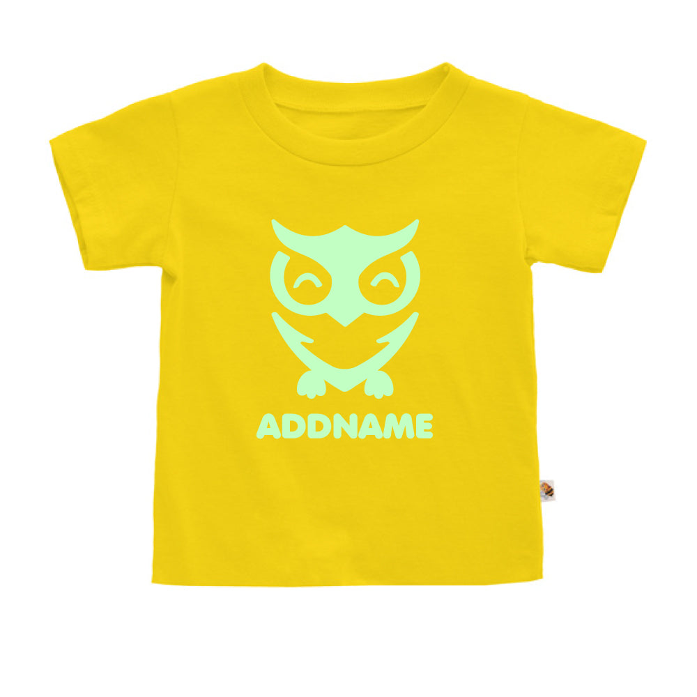 Teezbee.com - Cute Owl Bird Glow in the Dark - Kids-T (Yellow)