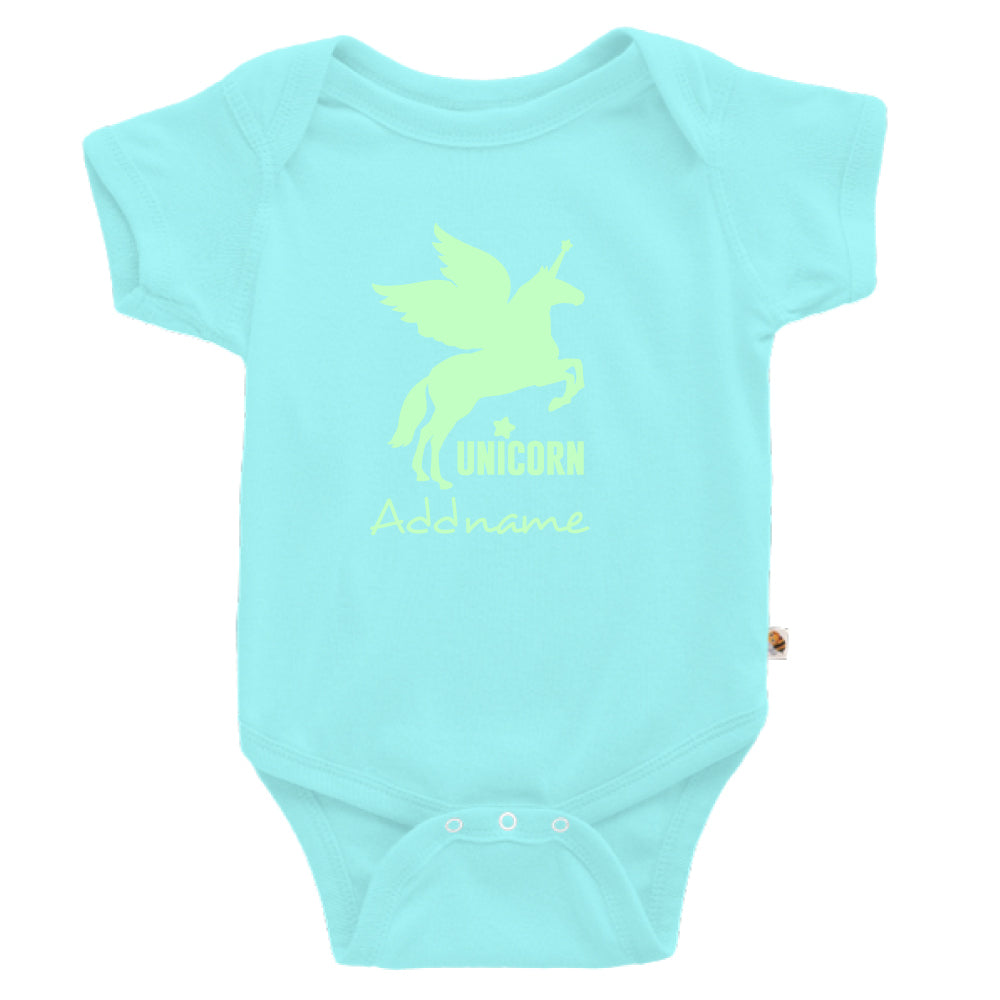 Teezbee.com - Im A Unicorn Glow in the Dark - Romper (Light Blue)