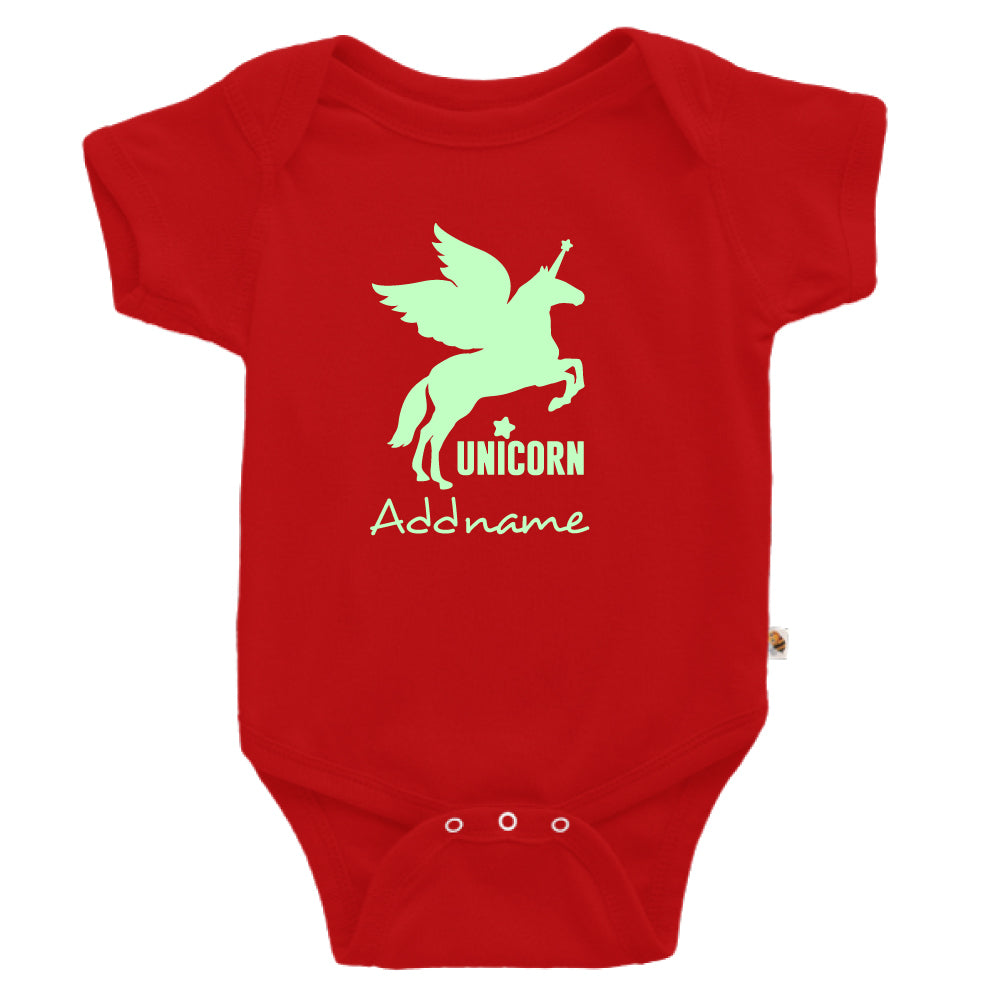 Teezbee.com - Im A Unicorn Glow in the Dark - Romper (Red)