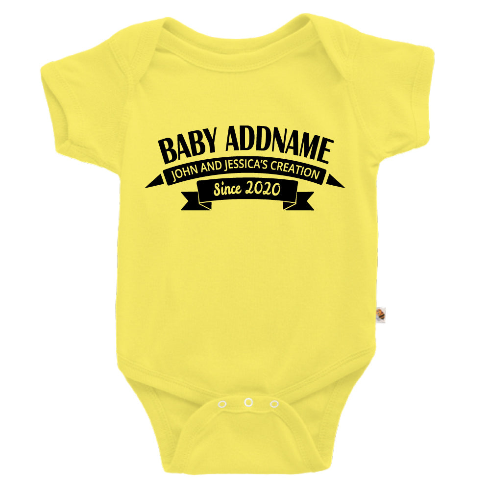 Teezbee.com - Name With Creation - Romper (Light Yellow)