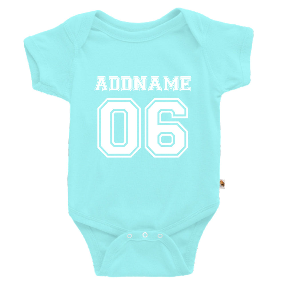 Teezbee.com - Name With Number  - Romper (Light Blue)