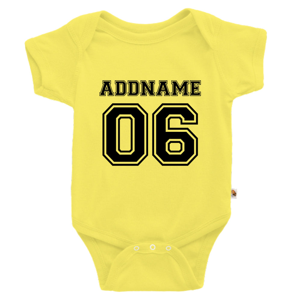 Teezbee.com - Name With Number  - Romper (Light Yellow)