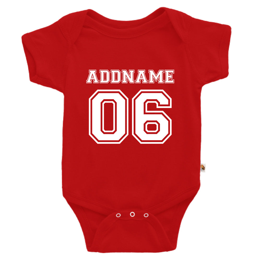 Teezbee.com - Name With Number  - Romper (Red)