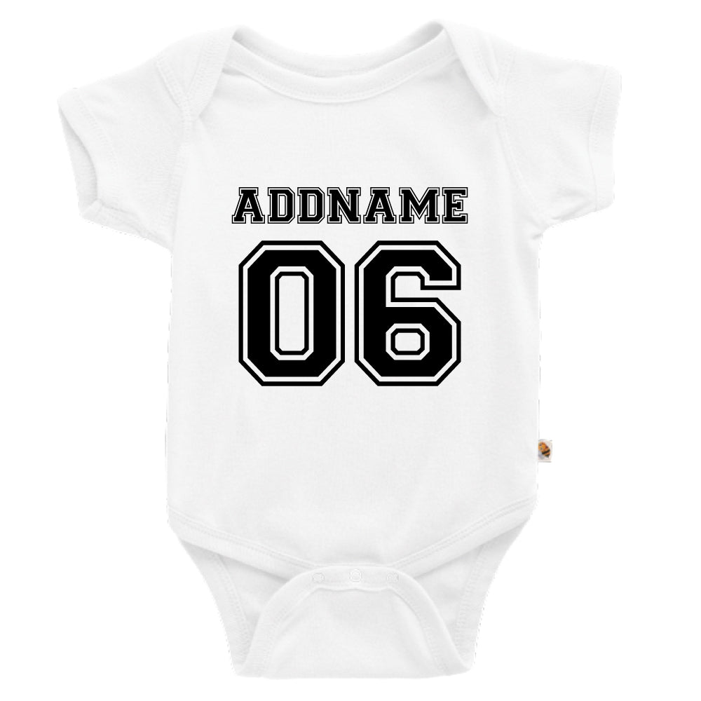 Teezbee.com - Name With Number  - Romper (White)