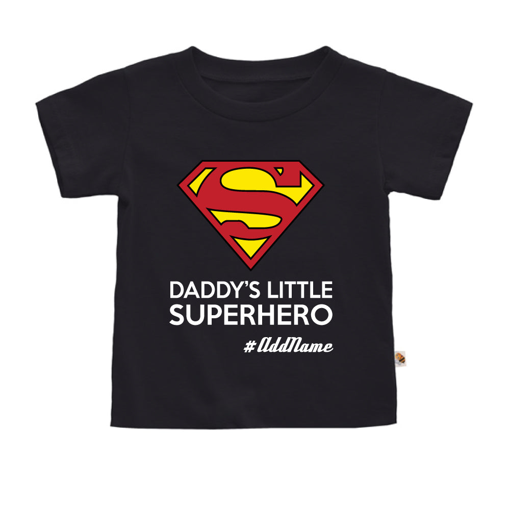 Teezbee.com - Daddy Little Superhero - Kids-T (Black)