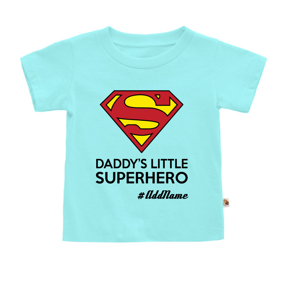 Teezbee.com - Daddy Little Superhero - Kids-T (Light Blue)