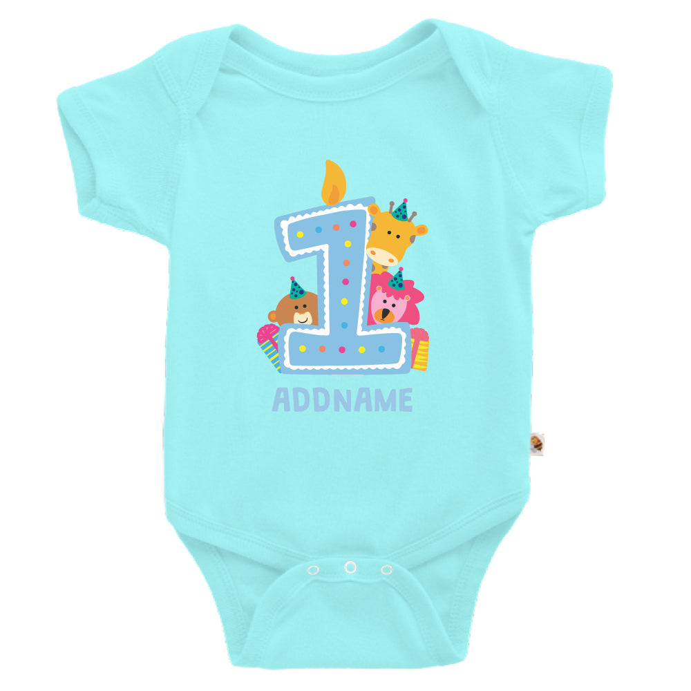 Teezbee.com - Cute Birthday Animal Blue - Romper (Light Blue)