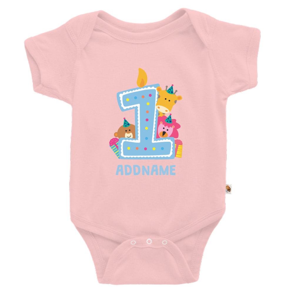 Teezbee.com - Cute Birthday Animal Blue - Romper (Pink)