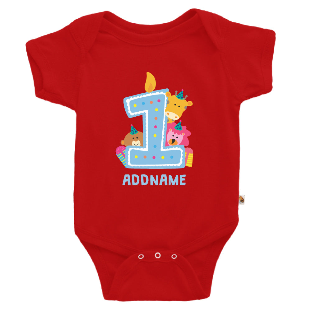Teezbee.com - Cute Birthday Animal Blue - Romper (Red)