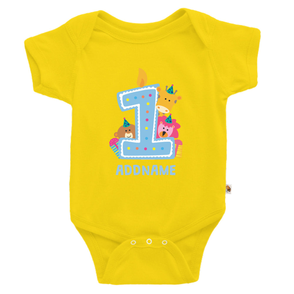 Teezbee.com - Cute Birthday Animal Blue - Romper (Yellow)