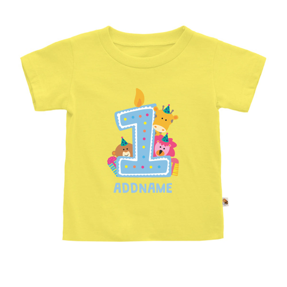 Teezbee.com - Cute Birthday Animal Blue - Kids-T (Light Yellow)