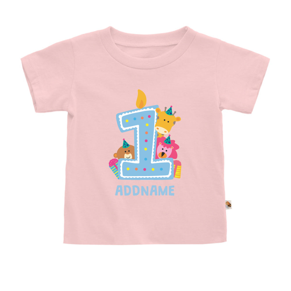 Teezbee.com - Cute Birthday Animal Blue - Kids-T (Pink)