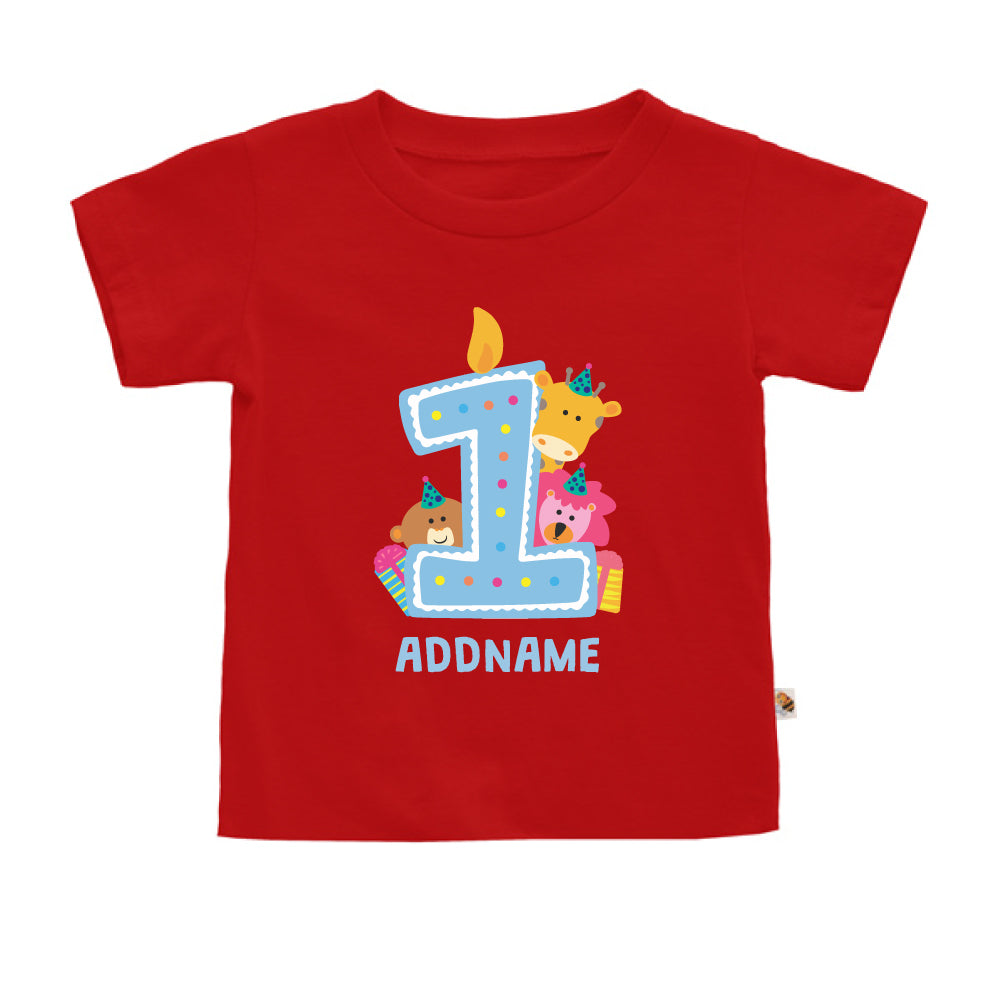 Teezbee.com - Cute Birthday Animal Blue - Kids-T (Red)