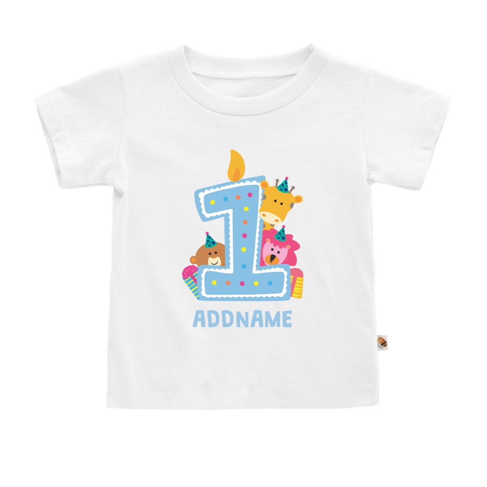 Teezbee.com - Cute Birthday Animal Blue - Kids-T (White)