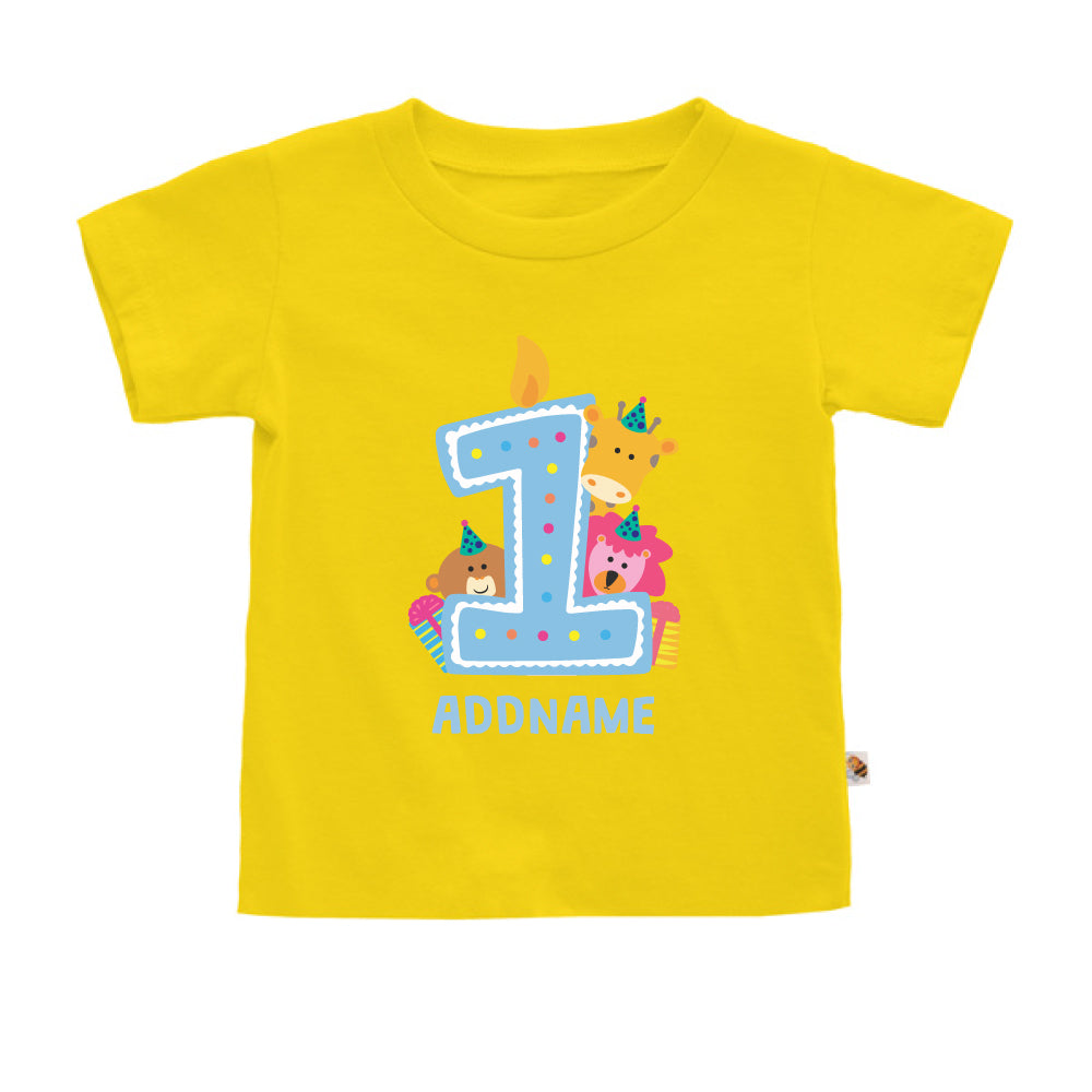 Teezbee.com - Cute Birthday Animal Blue - Kids-T (Yellow)