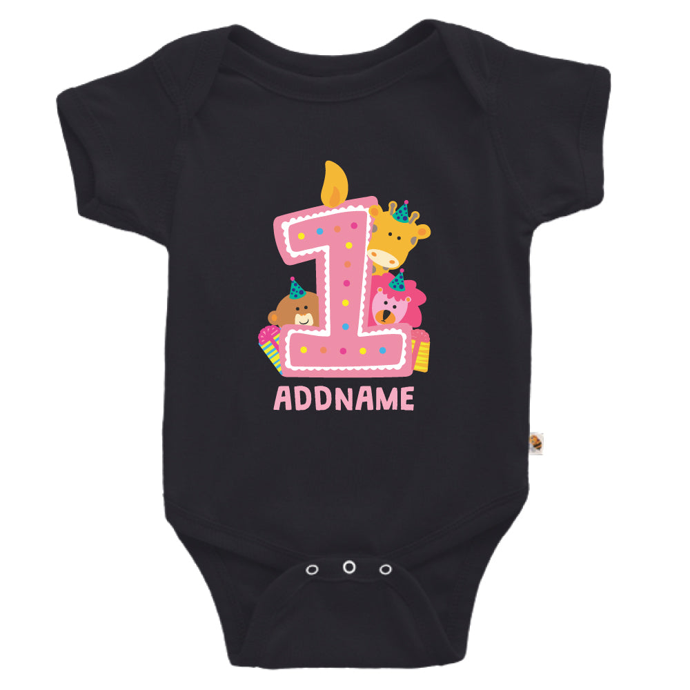 Teezbee.com - Cute Birthday Animal Pink - Romper (Black)