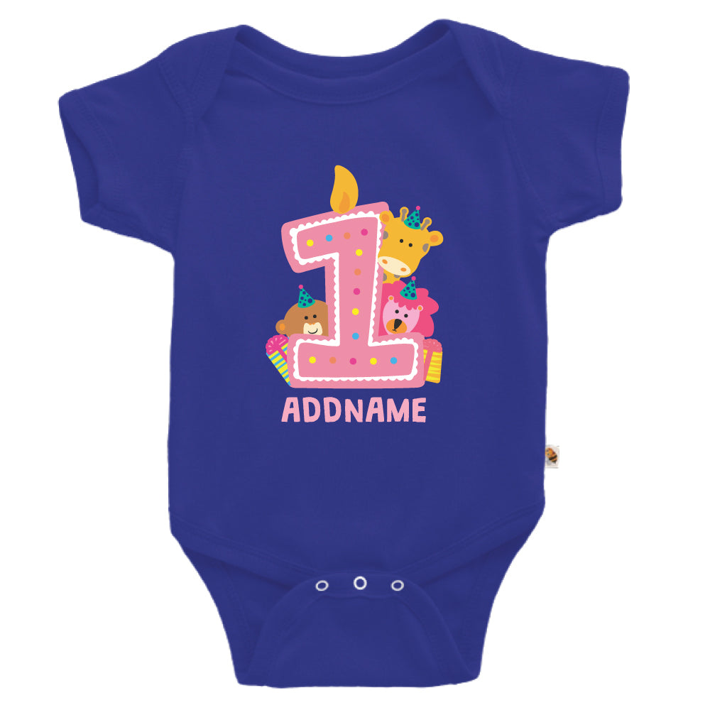 Teezbee.com - Cute Birthday Animal Pink - Romper (Blue)