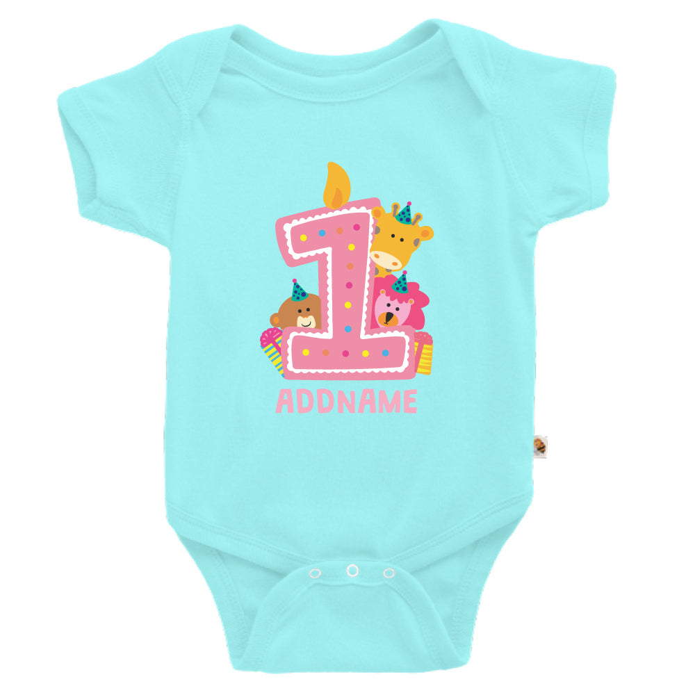 Teezbee.com - Cute Birthday Animal Pink - Romper (Light Blue)