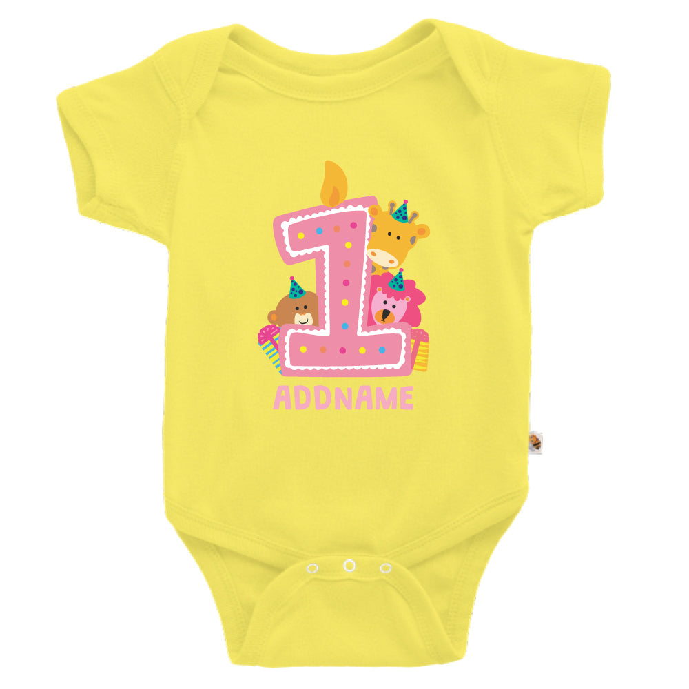 Teezbee.com - Cute Birthday Animal Pink - Romper (Light Yellow)