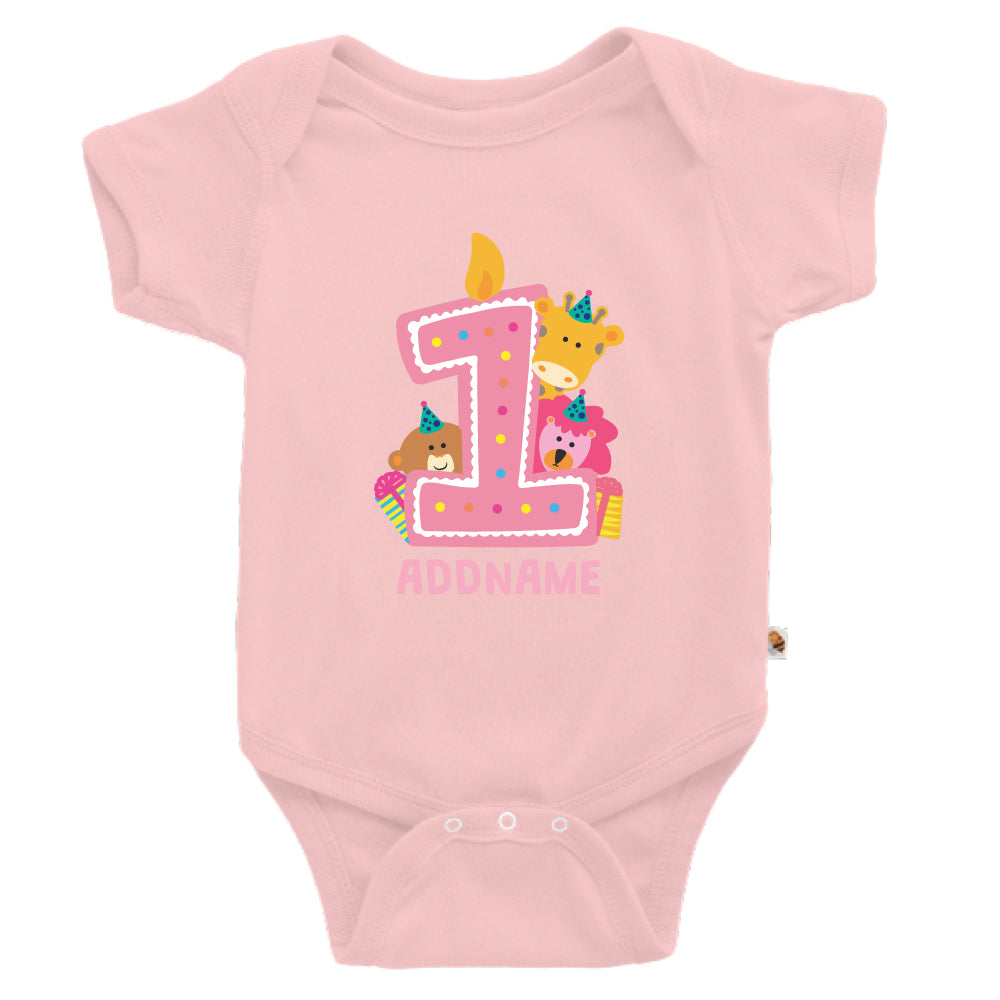 Teezbee.com - Cute Birthday Animal Pink - Romper (Pink)