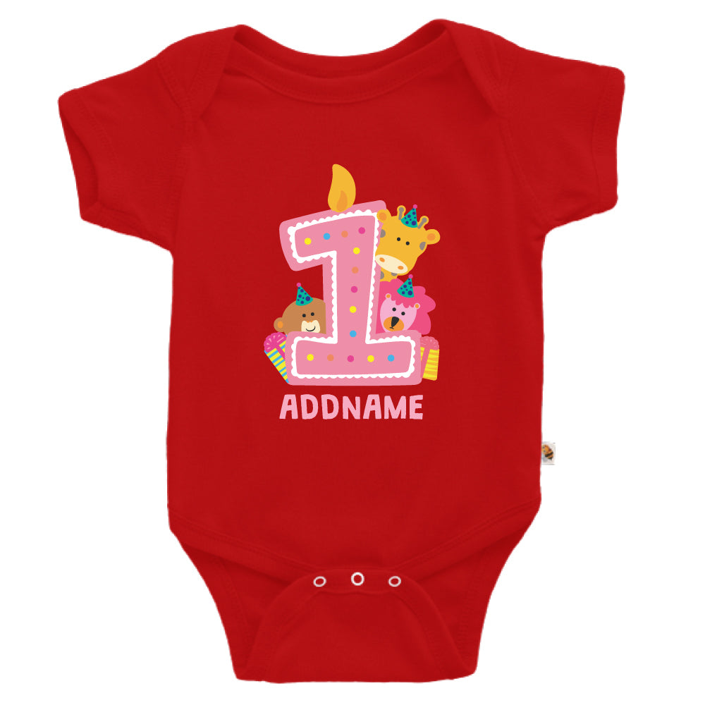 Teezbee.com - Cute Birthday Animal Pink - Romper (Red)