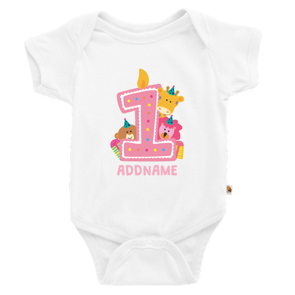 Teezbee.com - Cute Birthday Animal Pink - Romper (White)