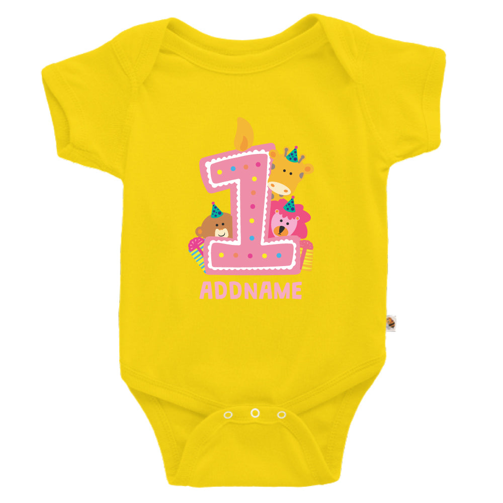 Teezbee.com - Cute Birthday Animal Pink - Romper (Yellow)