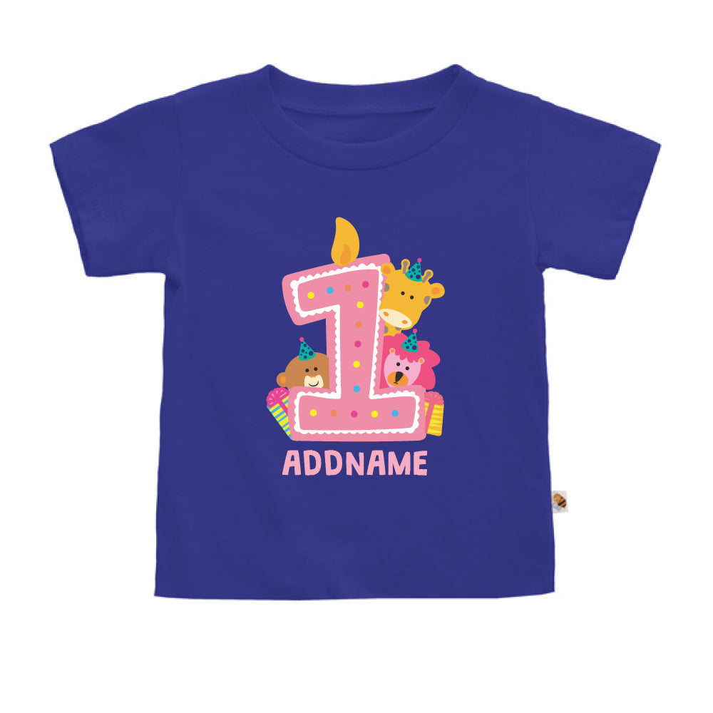 Teezbee.com - Cute Birthday Animal Pink - Kids-T (Blue)