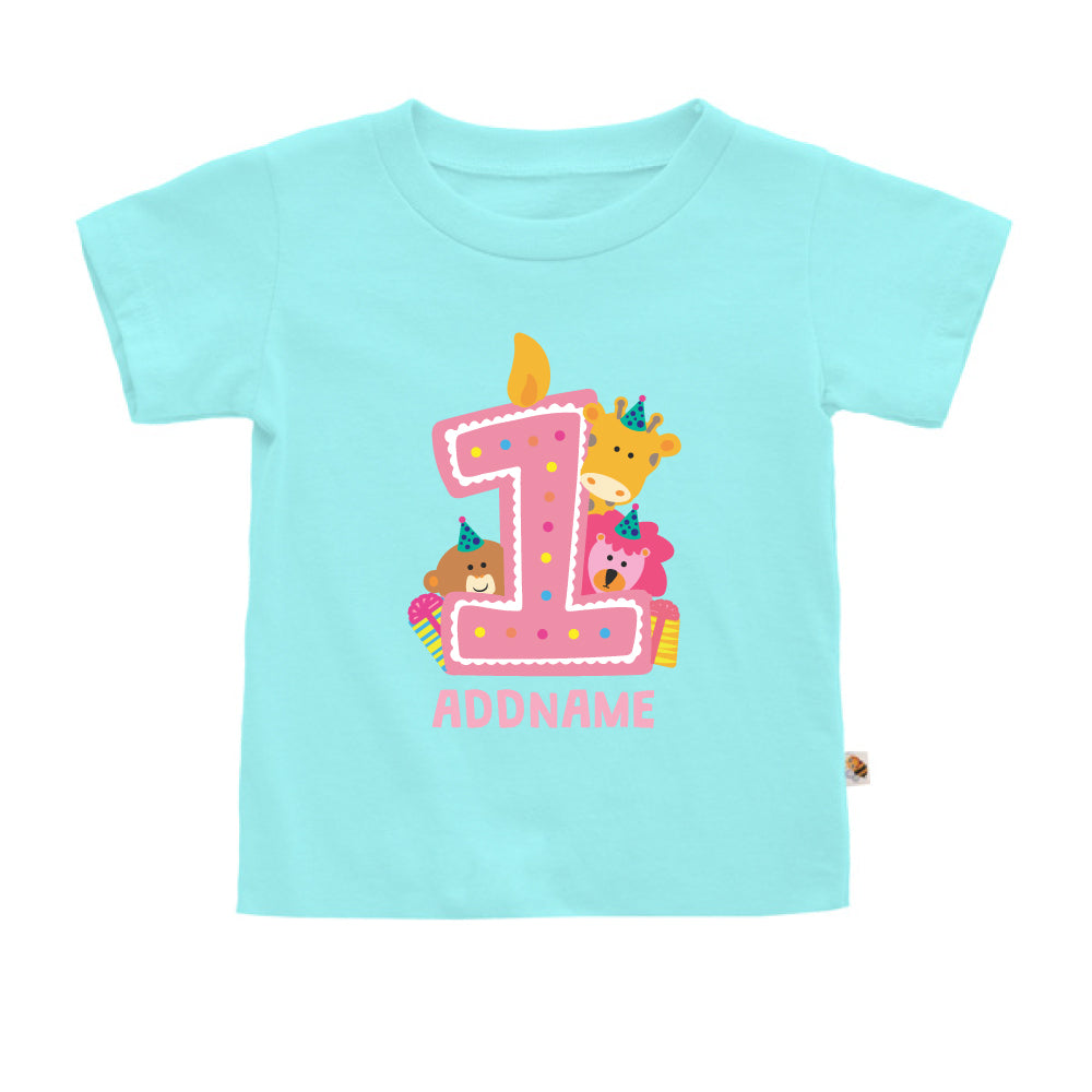 Teezbee.com - Cute Birthday Animal Pink - Kids-T (Light Blue)