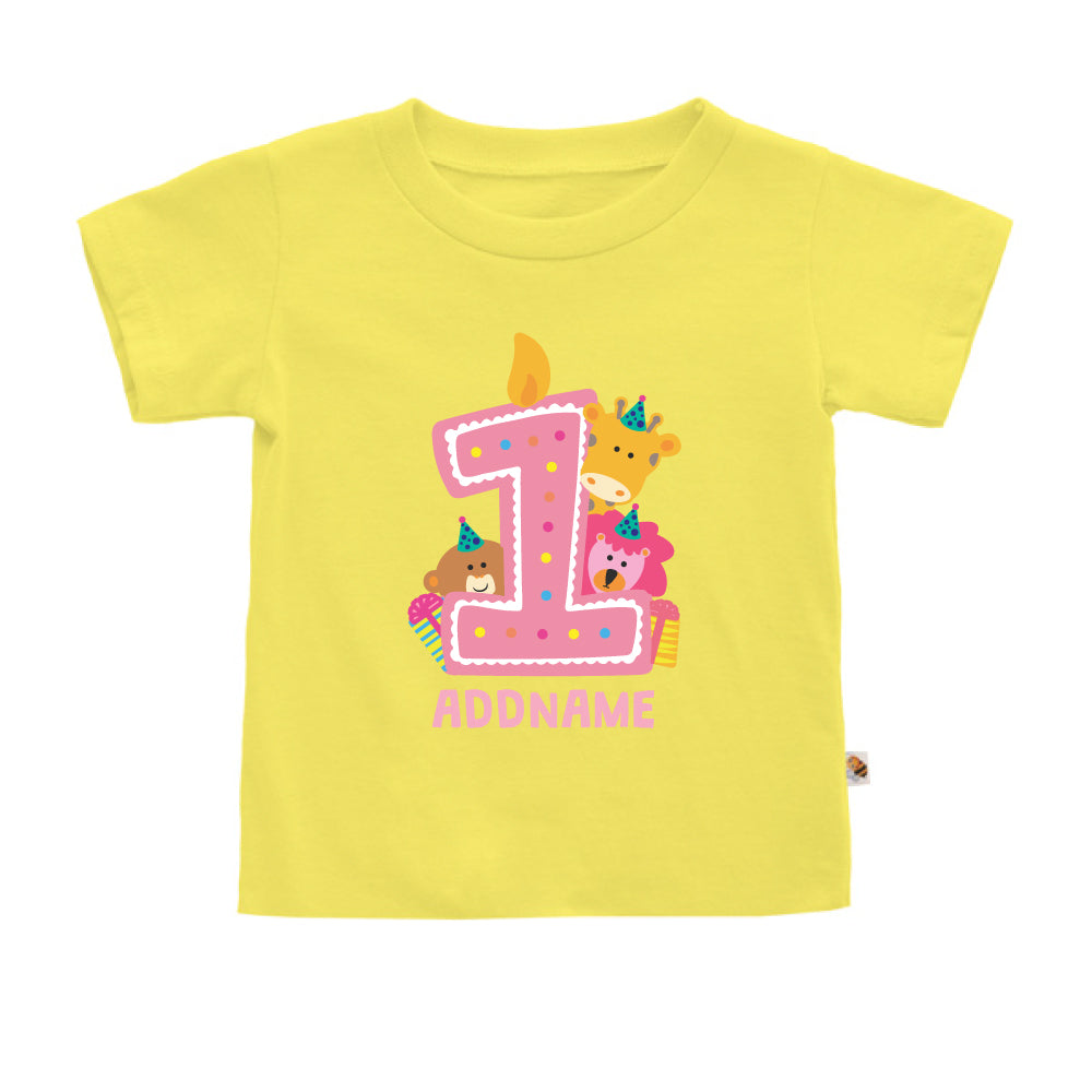 Teezbee.com - Cute Birthday Animal Pink - Kids-T (Light Yellow)