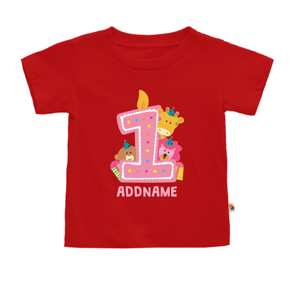 Teezbee.com - Cute Birthday Animal Pink - Kids-T (Red)