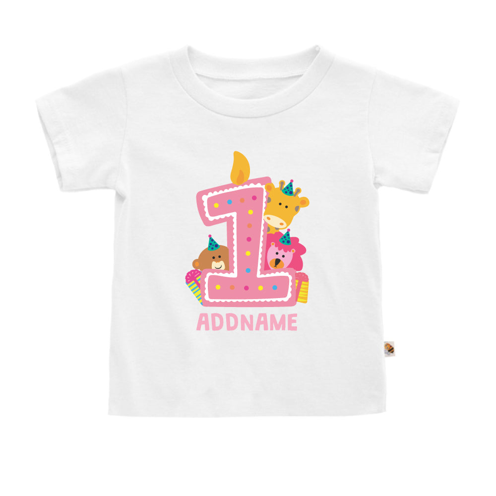 Teezbee.com - Cute Birthday Animal Pink - Kids-T (White)