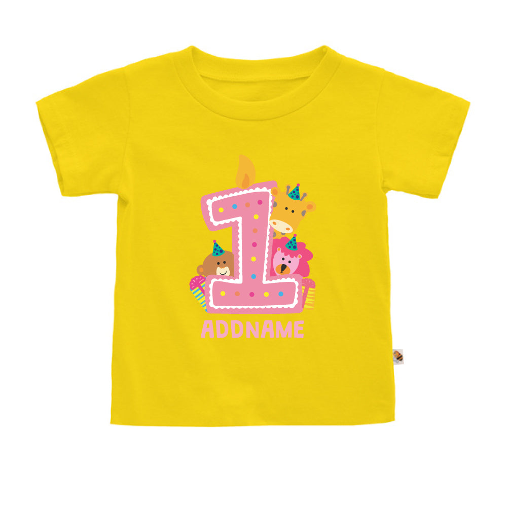 Teezbee.com - Cute Birthday Animal Pink - Kids-T (Yellow)