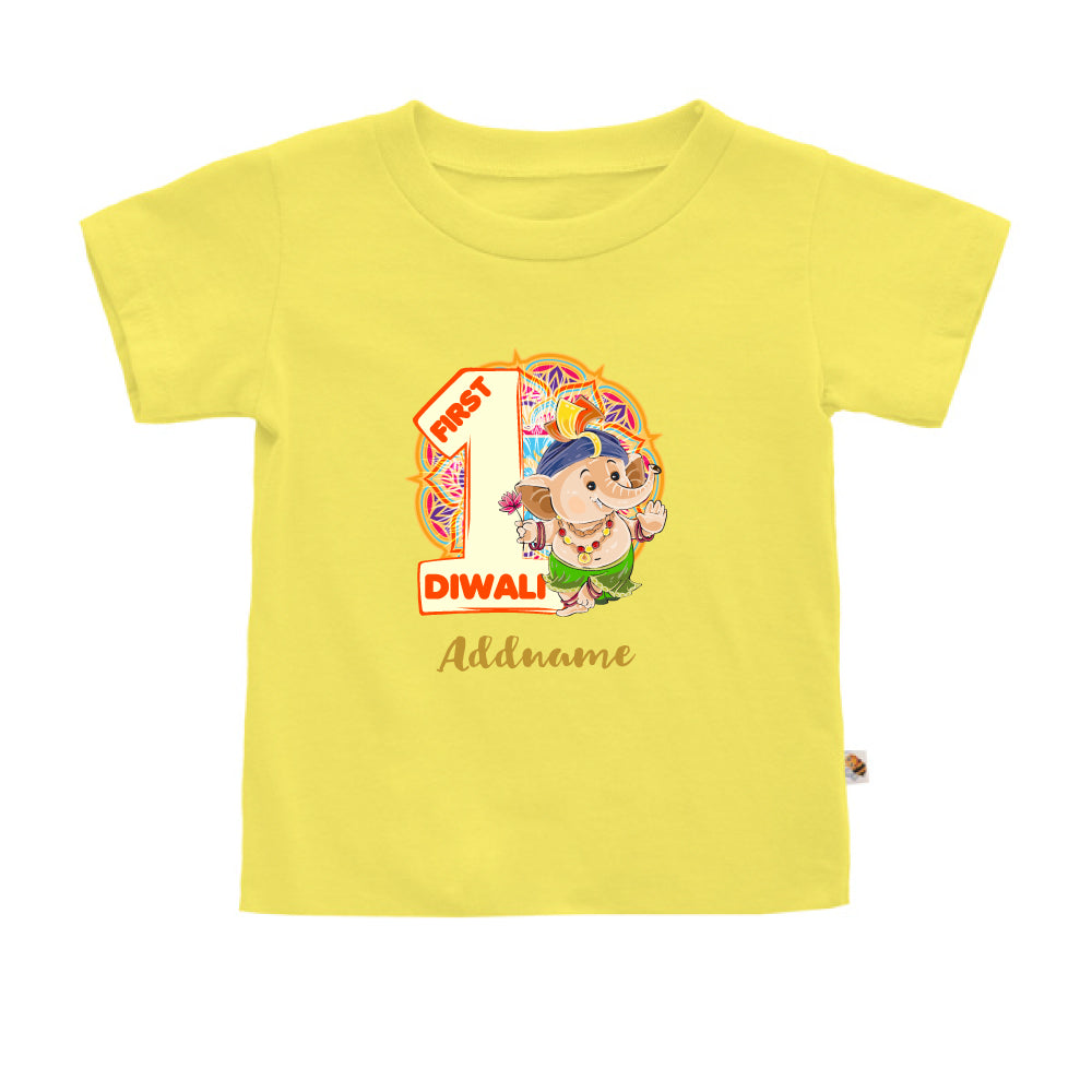 Teezbee.com - 1st Diwali Baby Ganesha - Kids-T (Light Yellow)