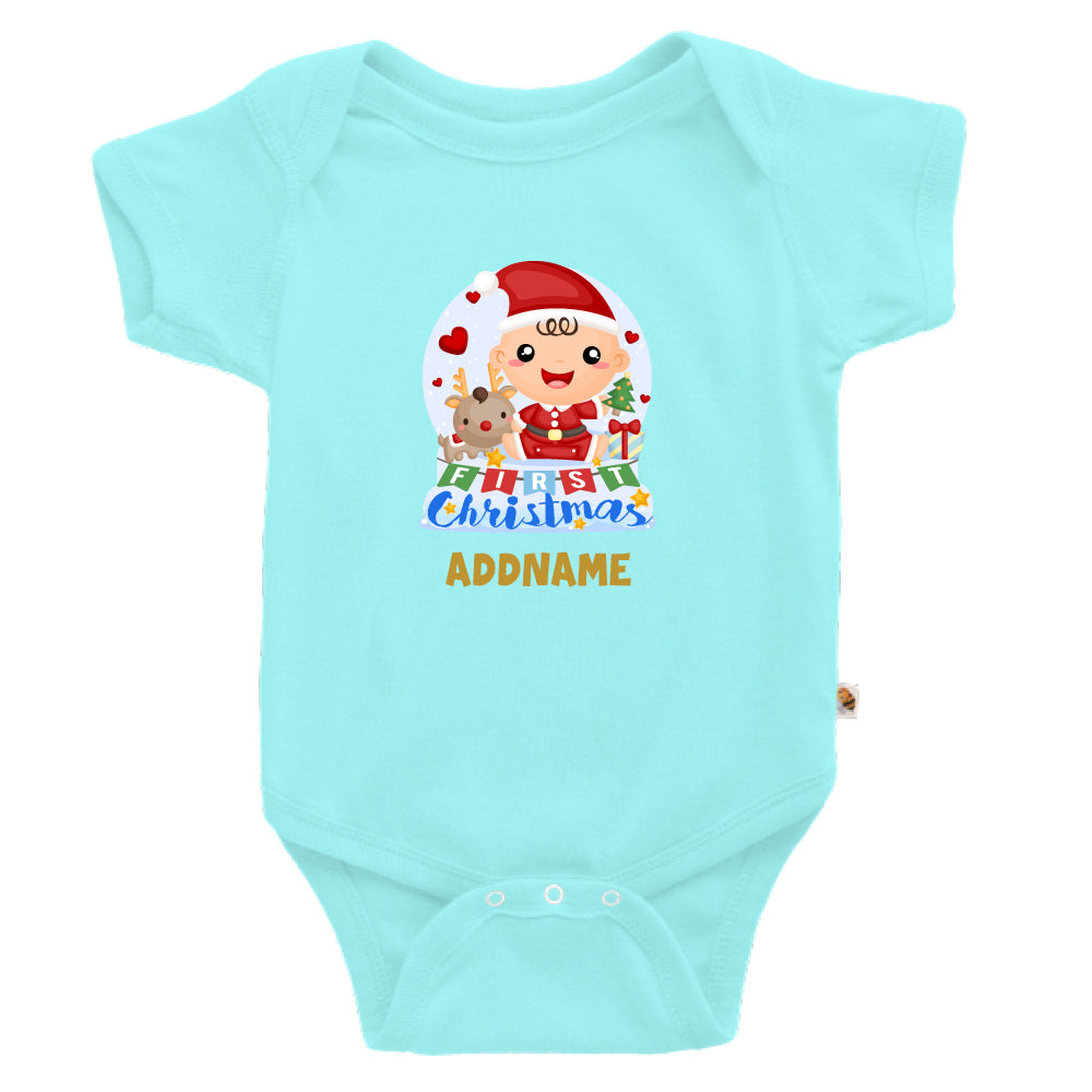 Teezbee.com - Baby BOY 1st Christmas Snow Globe - Romper (Light Blue)