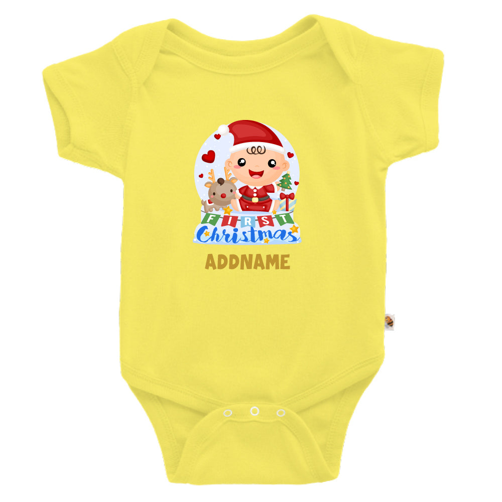 Teezbee.com - Baby BOY 1st Christmas Snow Globe - Romper (Light Yellow)
