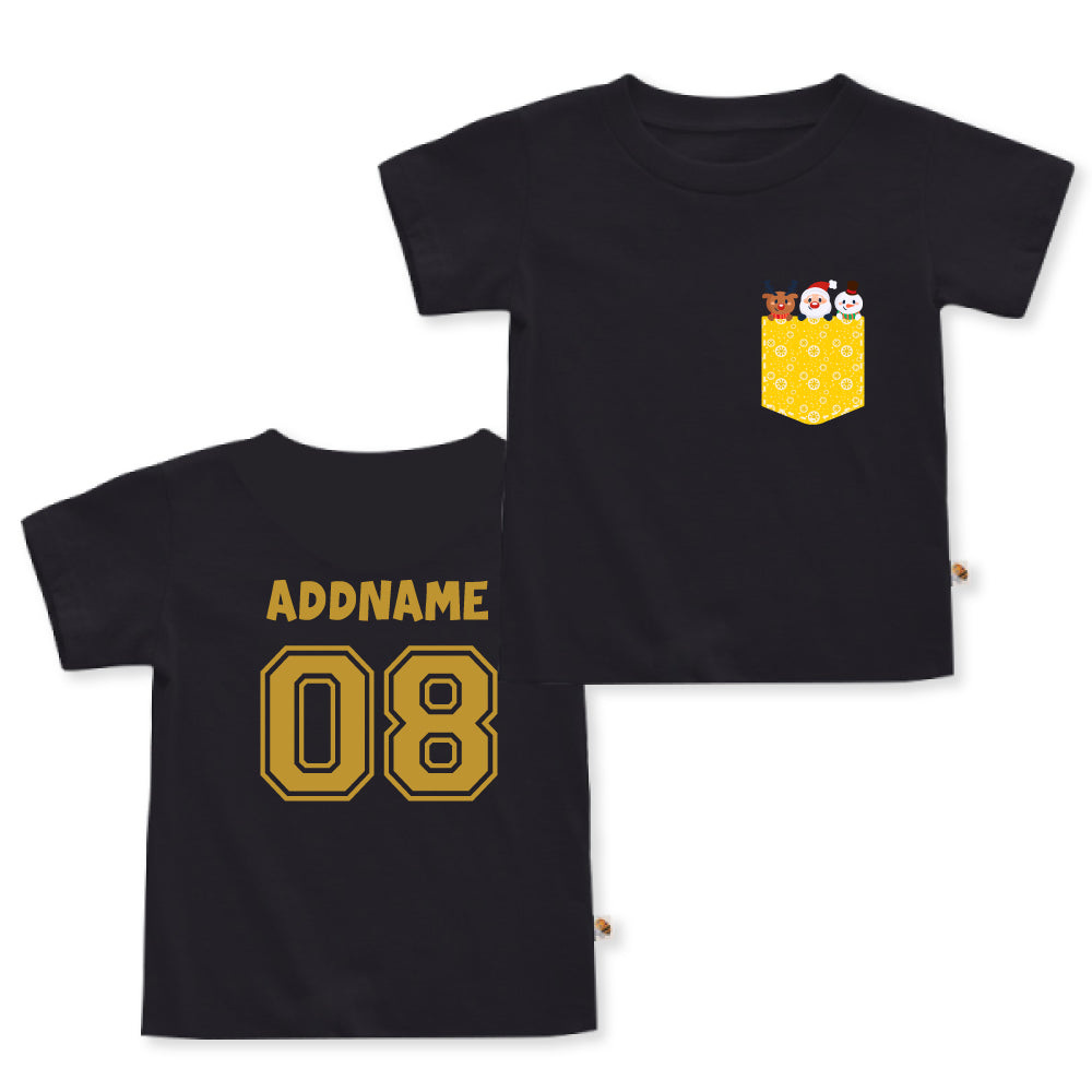 Teezbee.com - Christmas Yellow Pocket Prints - Kids-T (Black)