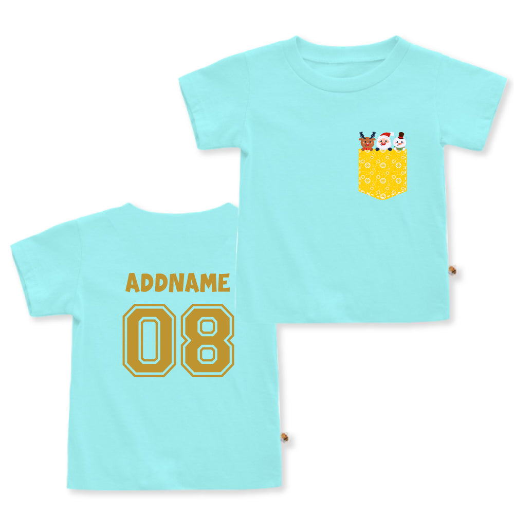 Teezbee.com - Christmas Yellow Pocket Prints - Kids-T (Light Blue)