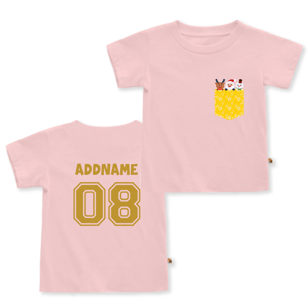 Teezbee.com - Christmas Yellow Pocket Prints - Kids-T (Pink)