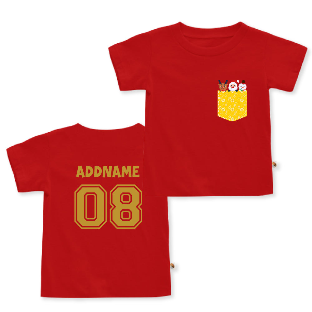 Teezbee.com - Christmas Yellow Pocket Prints - Kids-T (Red)