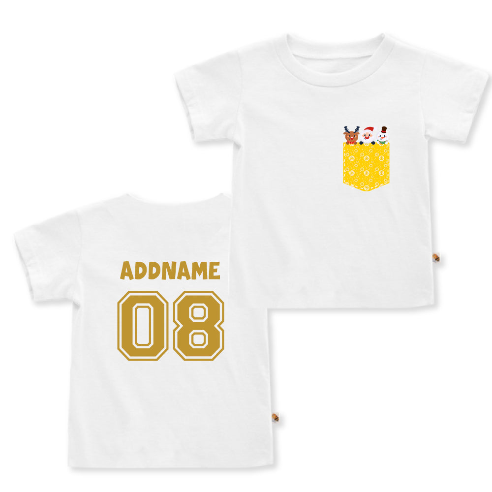 Teezbee.com - Christmas Yellow Pocket Prints - Kids-T (White)