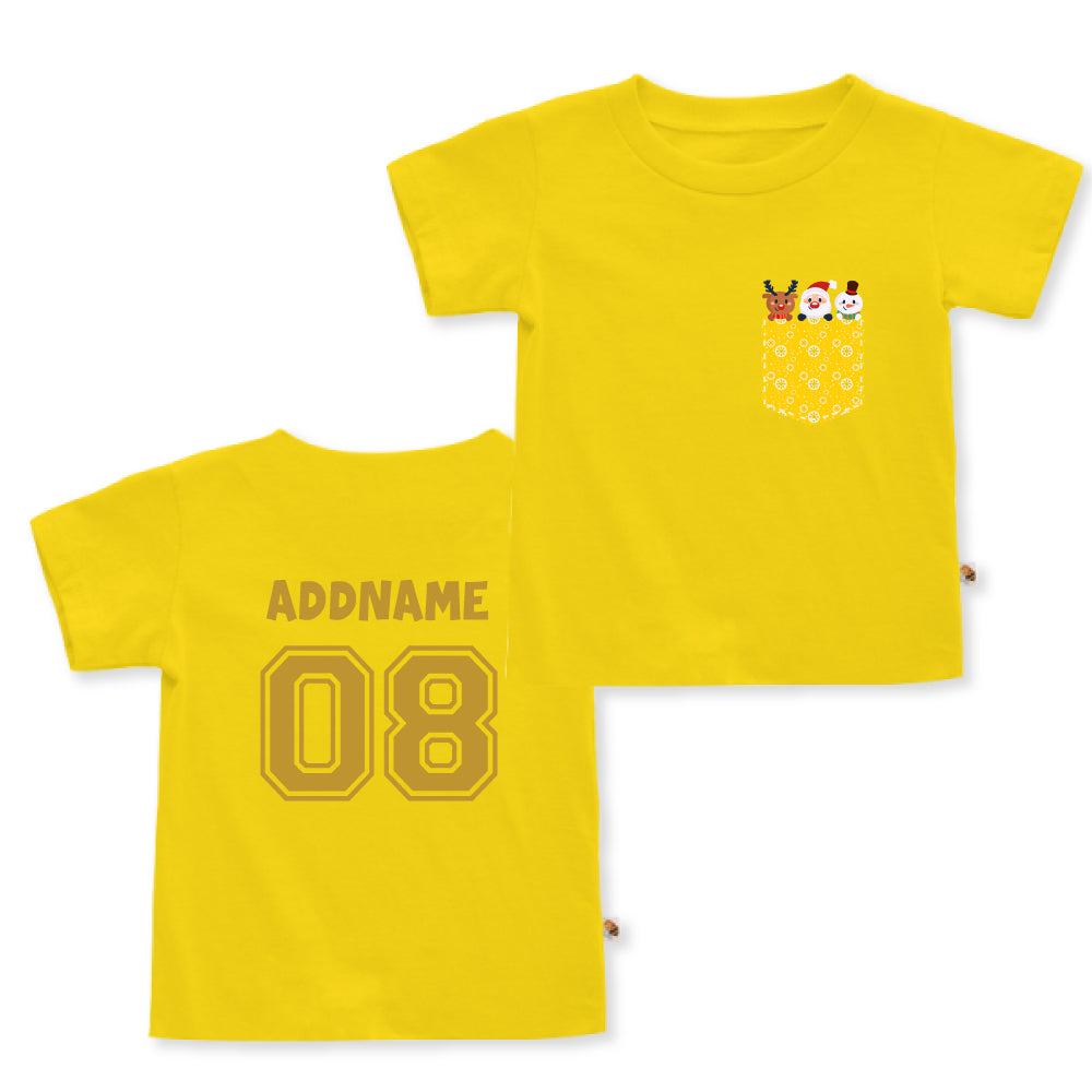 Teezbee.com - Christmas Yellow Pocket Prints - Kids-T (Yellow)