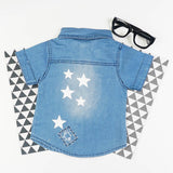 Star Print Button Up Denim Shirt